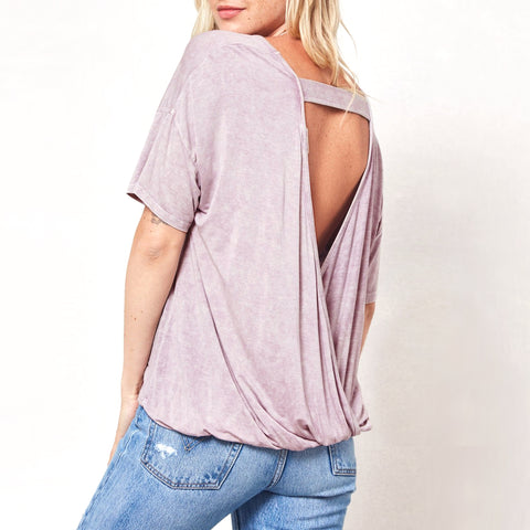 Promesa Mauve Purple Open Back V Neck Tee T Shirt Mineral Wash Tie Dye Top Savvy Chic Boutique Cleveland Ohio