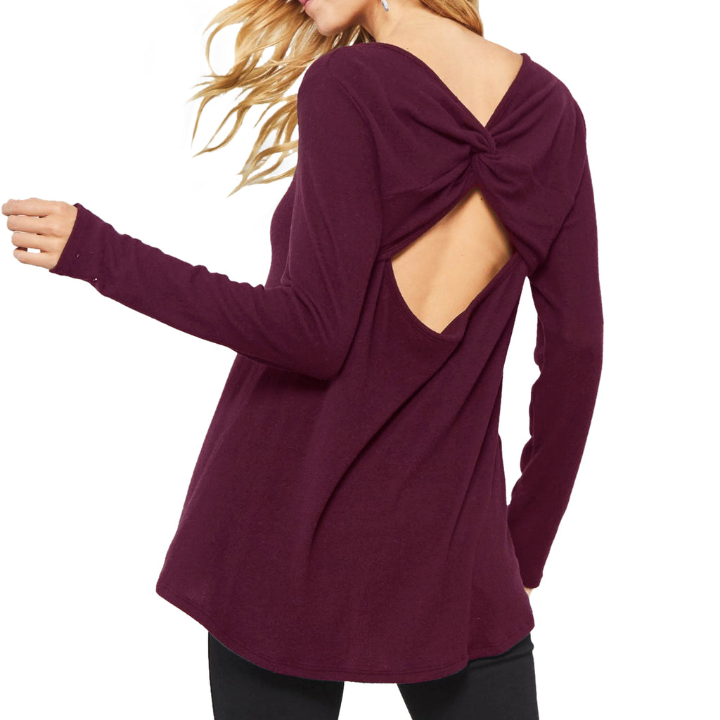 Promesa Burgundy Plum Twist Open Back Long Sleeve Top Savvy Chic Boutique Cleveland Ohio