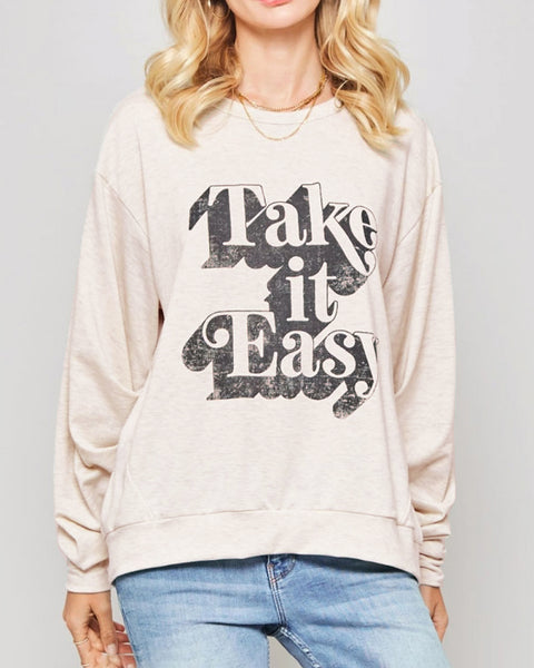 Promesa Oatmeal Heather French Terry Vintage Graphic Take It Easy Long Sleeve Sweatshirt Top Savvy Chic Boutique Cleveland Ohio