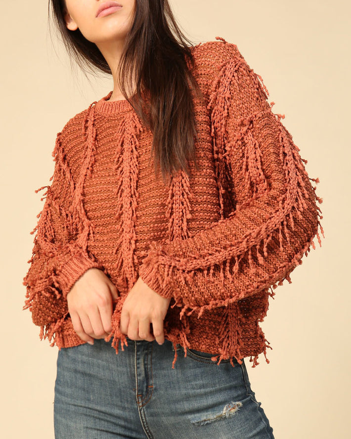 Timing Fall Autumn Rust Orange Shag Knit Fringe Pullover Sweater Top Savvy Chic Boutique Cleveland Ohio