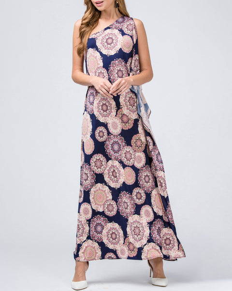 Entro Ornate Print Navy Maxi Dress One Shoulder Drape Savvy Chic Boutique Cleveland Ohio