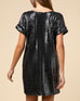 Black Sequin T Shirt Short Sleeve Party Holiday Dress Savvy Chic Boutique Cleveland Ohio