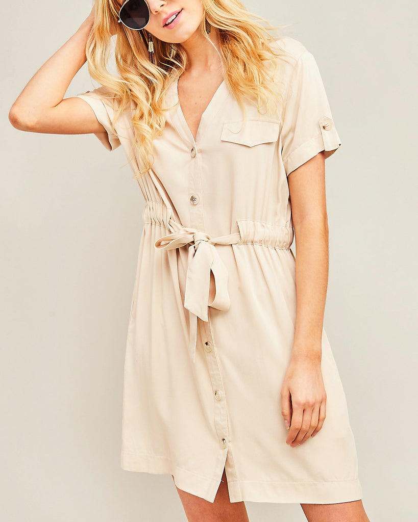 Entro Tan Beige Cargo Short Sleeve Tie Waist Button Down Dress Savvy Chic Boutique Cleveland Ohio