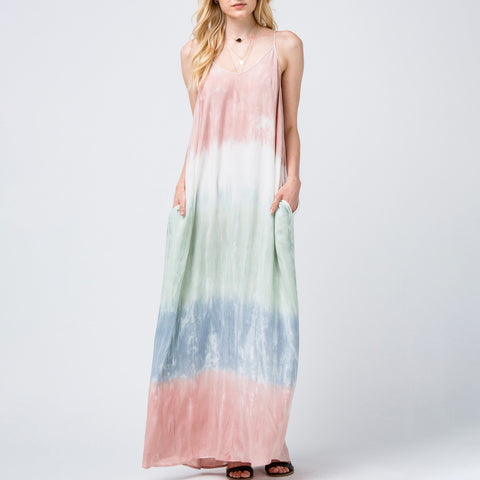 Entro Tie Dye Blush White Green Blue Maxi Dress Savvy Chic Boutique Cleveland Ohio