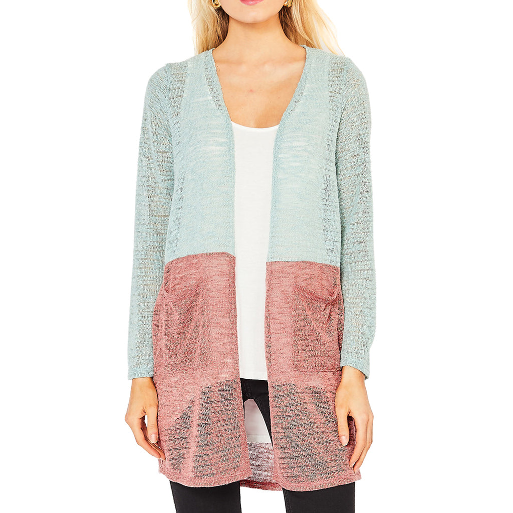 Entro Color Block Mint Green Sage Mauve Knit Cardigan Sweater Savvy Chic Boutique Cleveland Ohio