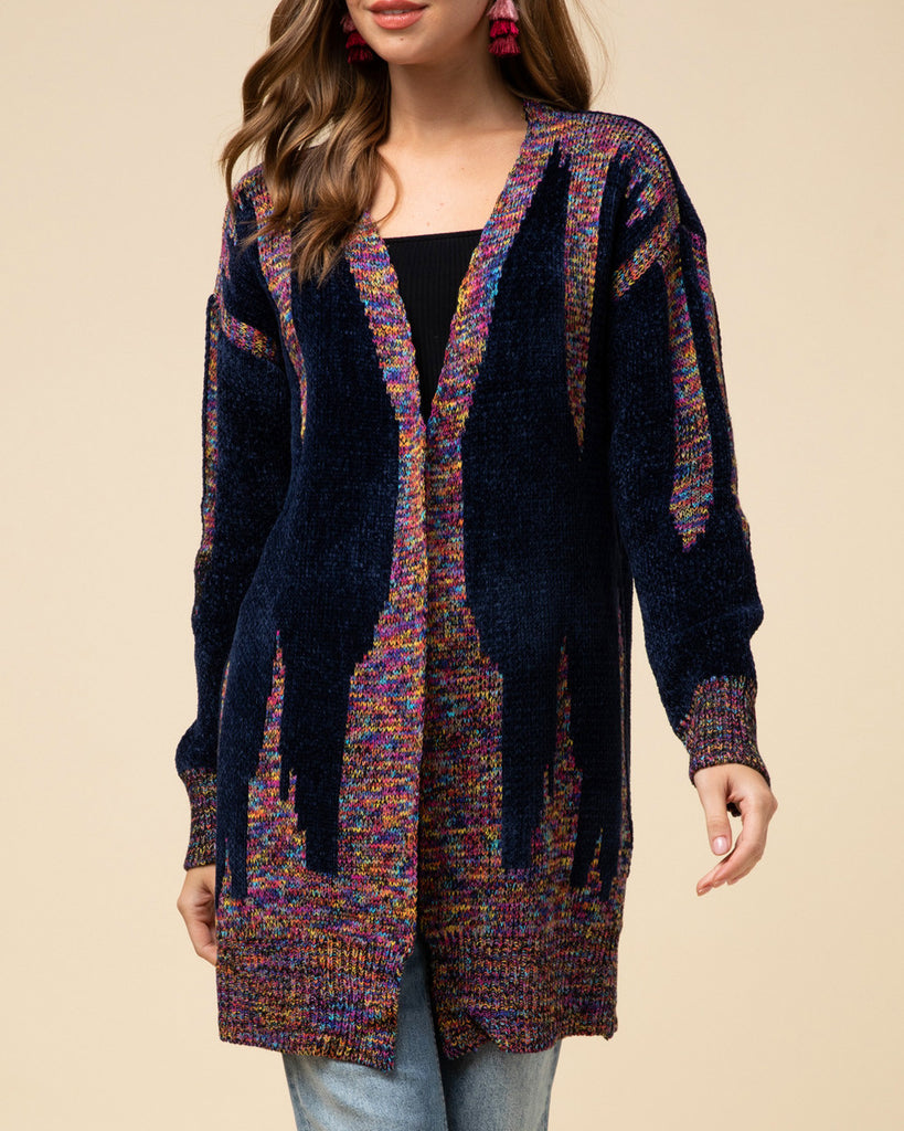 Navy Blue Multi-Colored Colorful Pattern Soft Chenille Knit Long Cardigan Sweater Savvy Chic Boutique Cleveland Ohio