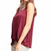 Entro Red Wine V Neck Camisole Bunched Knot Hem Tank Top Savvy Chic Boutique Cleveland Ohio
