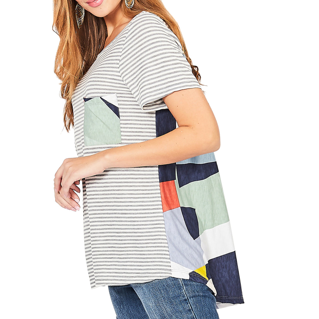 Entro Stripe Geometric Colorful Print Tee Shirt Savvy Chic Boutique Cleveland Ohio