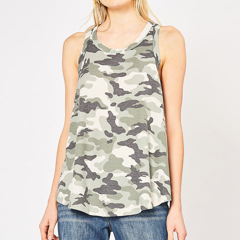 Entro Camouflage Camo Green Olive Print Ribbed Knit Racerback Tank Top Savvy Chic Boutique Cleveland Ohio