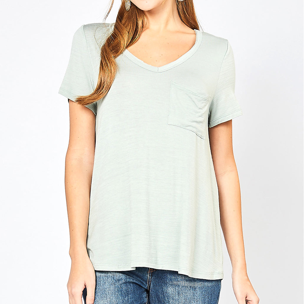 c372422f22d Entro Sage Green Mint V Neck Pocket Tee T Shirt Top Savvy Chic Boutique  Cleveland Ohio