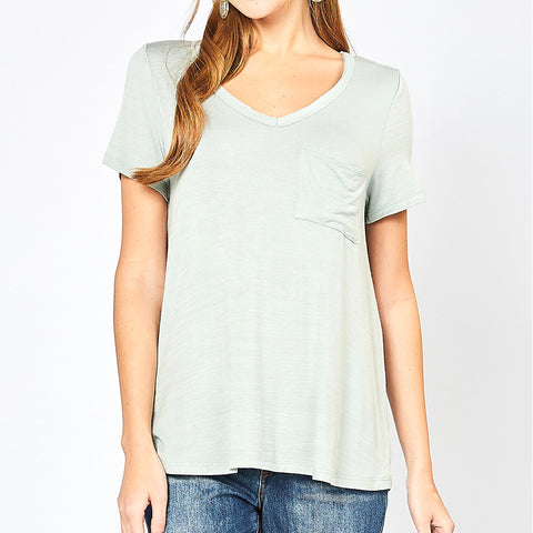Entro Sage Green Mint V Neck Pocket Tee T Shirt Top Savvy Chic Boutique Cleveland Ohio