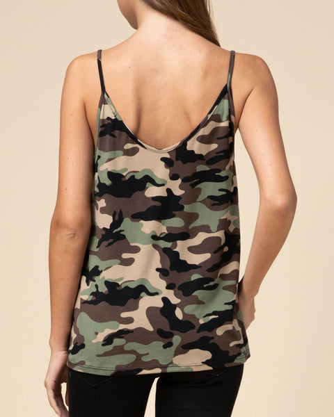 Olive Green Camouflage Print V Neck Knot Twist Hem Tank Top Savvy Chic Boutique Cleveland Ohio