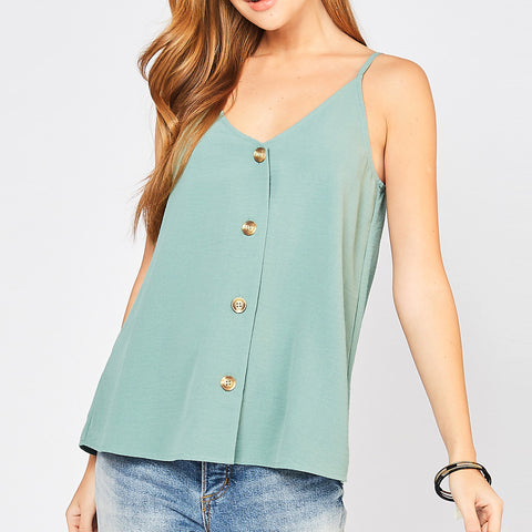 Entro Sage Green Button Down Tank Camisole Top Savvy Chic Boutique Cleveland Ohio
