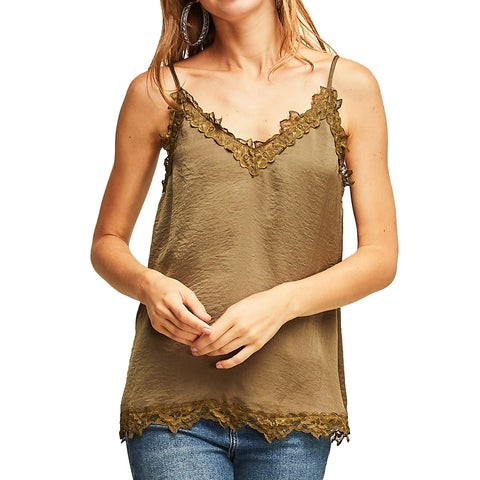 Entro Olive Lace Satin Camisole Tank Top Savvy Chic Boutique Cleveland Ohio
