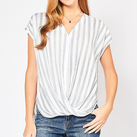 Entro White Blue Stripe V Neck Short Sleeve Gathered Twist Hem Top Savvy Chic Boutique Cleveland Ohio