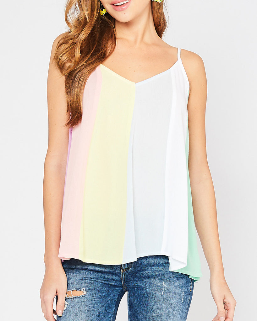 Colorful Pastel Stripe Camisole Tank Top Savvy Chic Boutique Cleveland Ohio