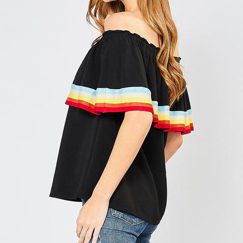 Entro Black Rainbow Colorful Stripe Off the Shoulder Top Savvy Chic Boutique Cleveland Ohio