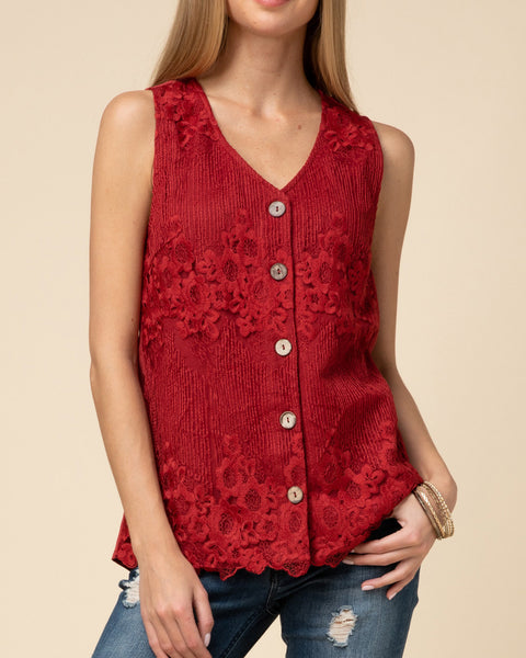 Red Burgundy Lace Button Down Sleeveless Tank Top Holiday Party Savvy Chic Boutique Cleveland Ohio