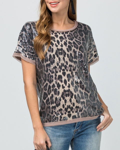 Leopard Cheetah Animal Print Sequin Short Sleeve T Shirt Top Savvy Chic Boutique Cleveland Ohio