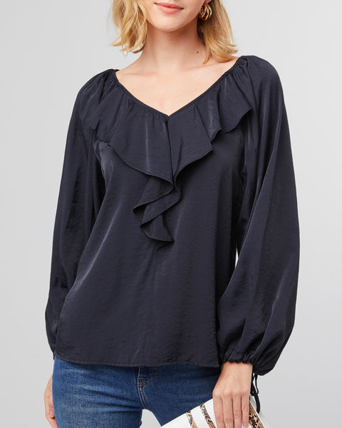 Black Ruffle Bubble Sleeve Blouse Top Savvy Chic Boutique Cleveland Ohio
