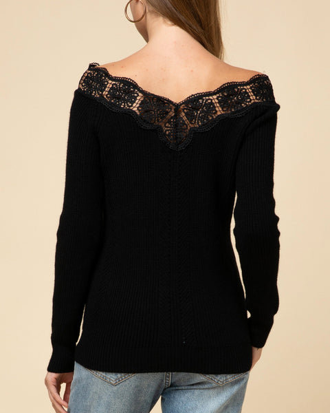 Black Knit Lace Crochet Boat Neck Sweater Holiday Party Top Savvy Chic Boutique Cleveland Ohio