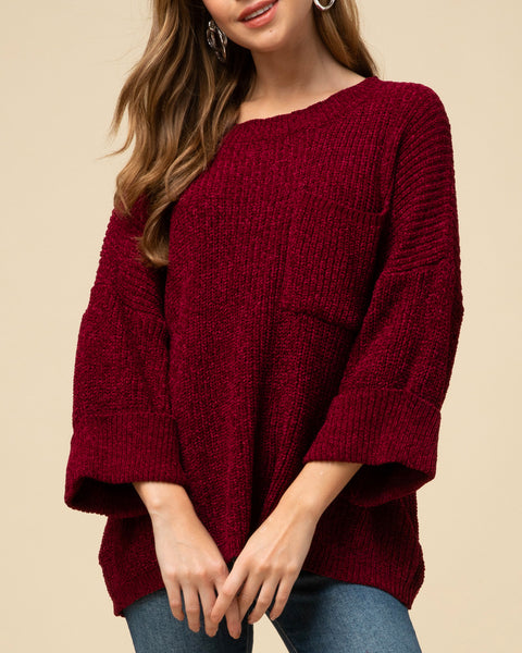 Burgundy Red Wine Chenille Knit Rolled Cuffed Sleeves Sweater Holiday Savvy Chic Boutique Cleveland Ohio
