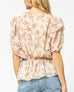 Cream Floral Print Ruffle Puff Sleeve Blouse Top Savvy Chic Boutique Cleveland Ohio