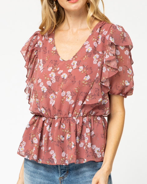 Mauve Floral Print Ruffle Short Puff Sleeve Blouse Top Savvy Chic Boutique Cleveland Ohio