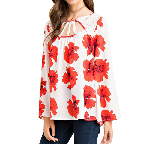 Entro Red Floral Poppy Print Off White Long Sleeve Lace Tie Blouse