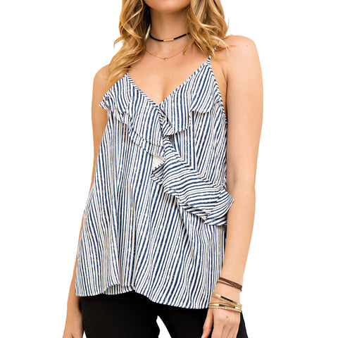 Intro Navy Blue White Stripe Ruffle Criss Cross Cami Camisole Tank Top Savvy Chic Boutique Cleveland Ohio