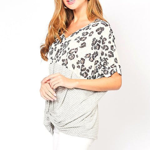 Entro Ivory Grey Leopard Stripe Knit Twist V Neck Tee T-shirt Top Savvy Chic Boutique Cleveland Ohio