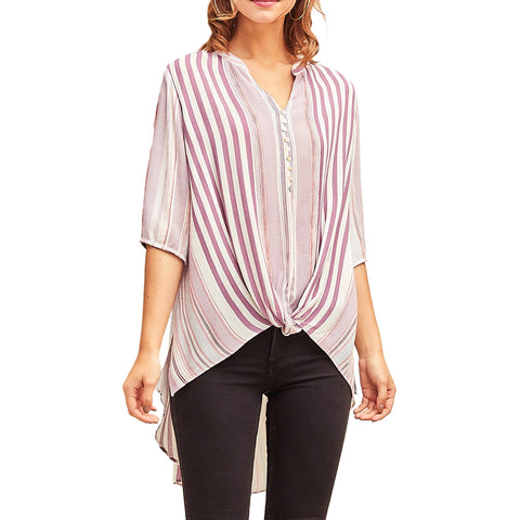 Entro Purple Lavender Striped Button Down Twist Knot Half Sleeve Blouse Shirt Savvy Chic Boutique Cleveland Ohio