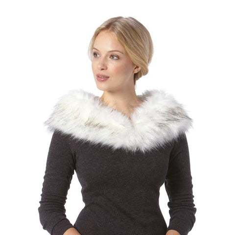 Ivory Black Grey Faux Fur Collar