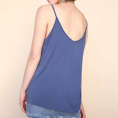Umgee Blue Twist Front Tank Top Camisole Savvy Chic Boutique Cleveland Ohio