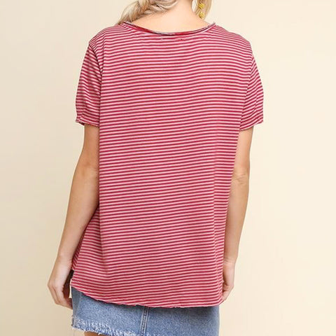 Umgee Striped Oversized Tee T-Shirt Top Savvy Chic Boutique Cleveland Ohio