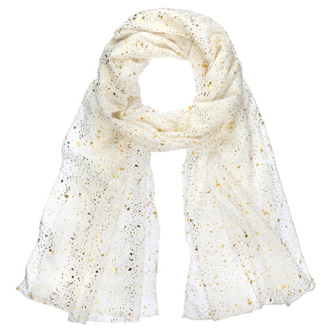 White Metallic Gold Holiday Scarf