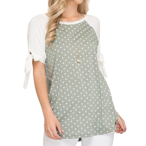 She + Sky Sage Green Ivory Polka Dot Print Tie Sleeve Shirt Top Savvy Chic Boutique Cleveland Ohio