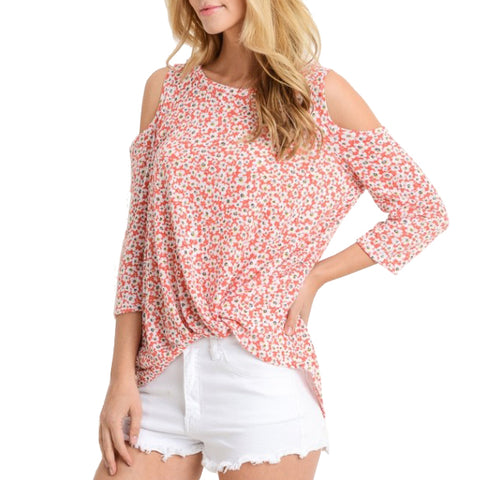 Le Lis Red Orange White Daisy Ditsy Floral Print Cold Shoulder Top Savvy Chic Boutique Ohio