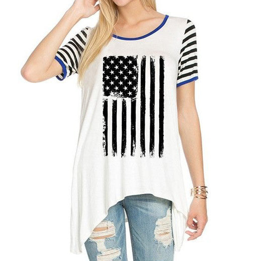 Black White Stars Stripes American USA Flag Hi-Low Tee
