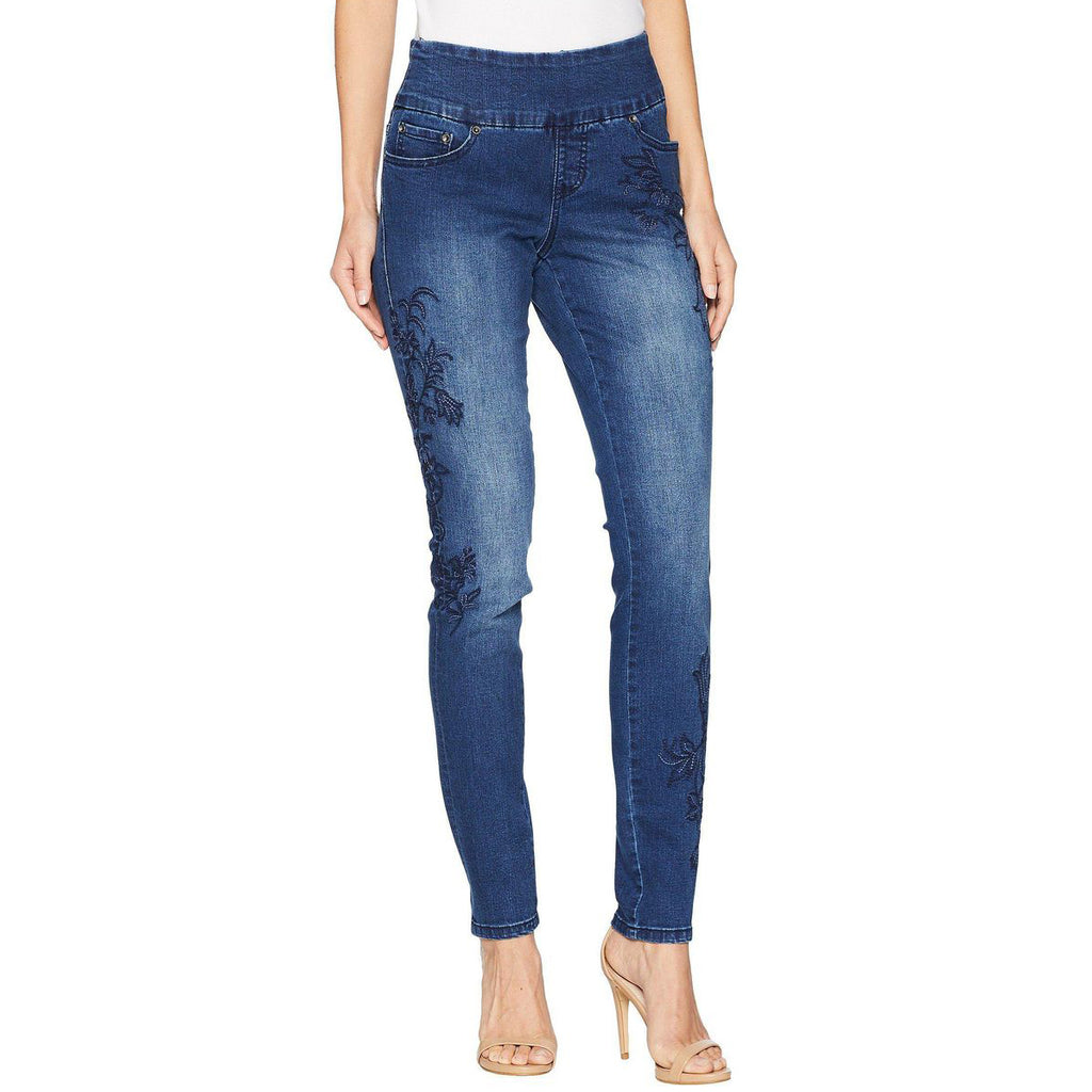 Jag Jeans Nora Embroidered Pull On Skinny Kodiak Blue Denim High Rise Savvy Chic Boutique Cleveland Ohio