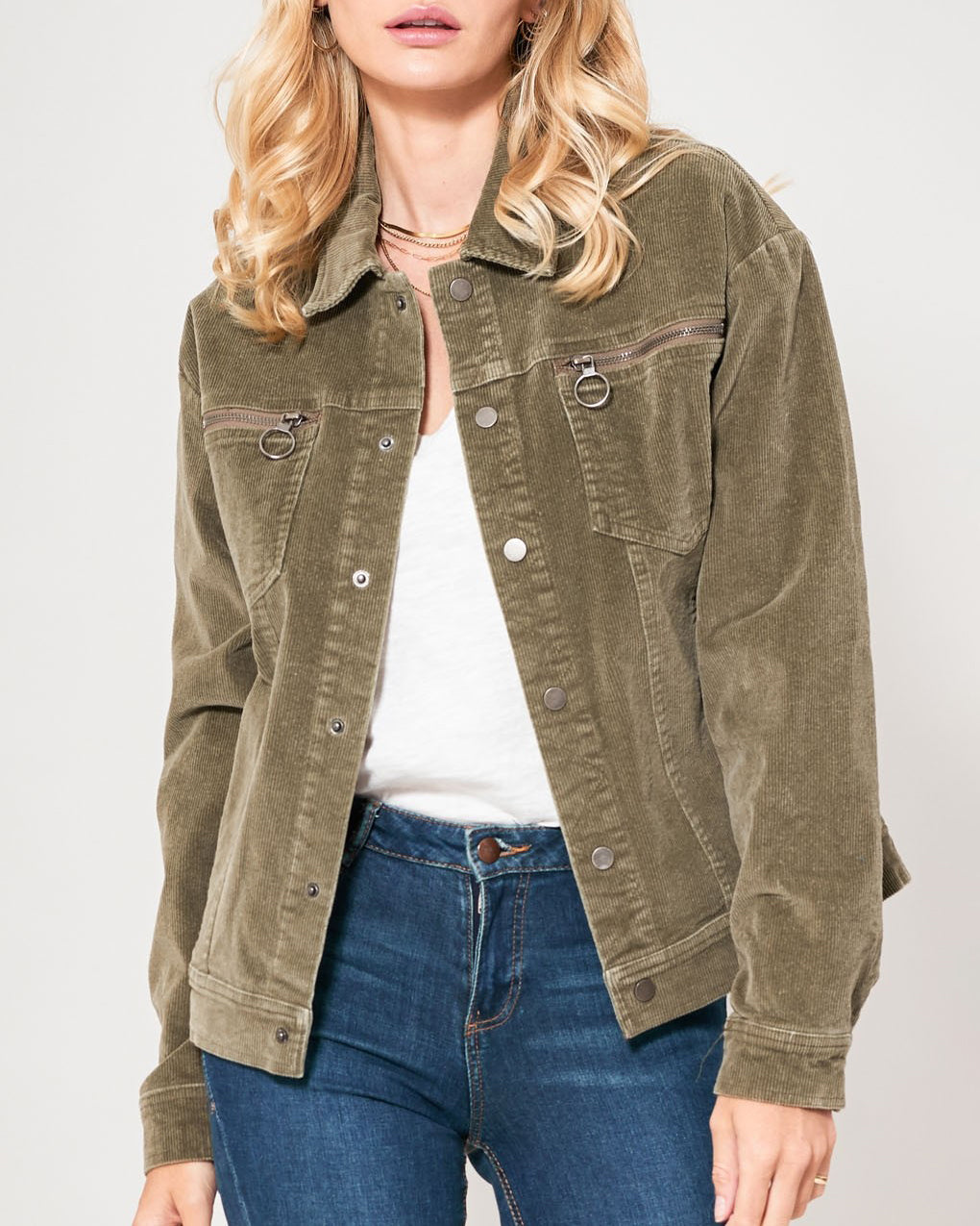 Promesa Olive Green Corduroy Button Up Jacket Savvy Chic Boutique Cleveland Ohio