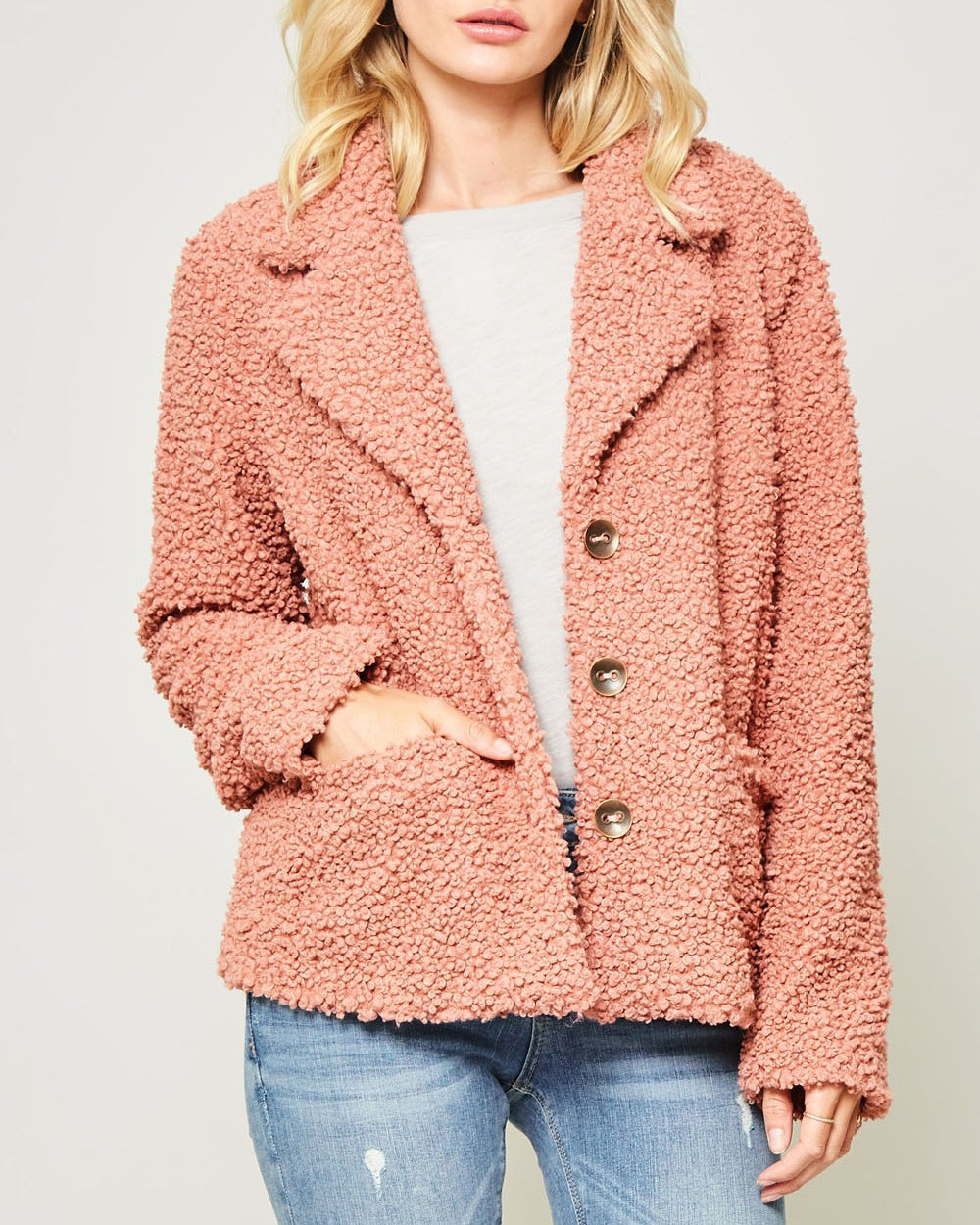 Promesa Peach Pink Persimmon Fluffy Faux Shearling Button Pocket Jacket Coat Savvy Chic Boutique Cleveland Ohio