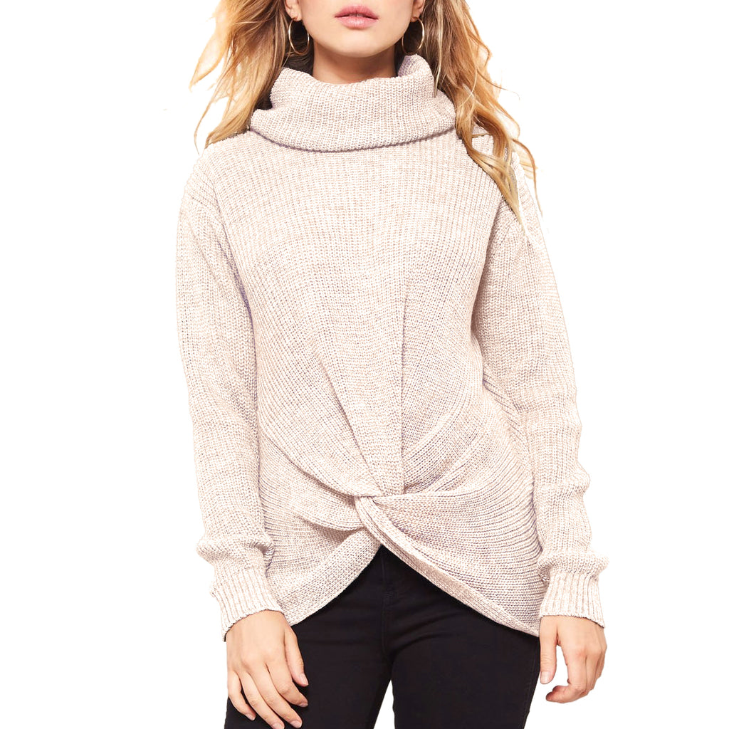 Promesa Beige Knit Turtleneck Twist Front Ribbed Pullover Sweater Savvy Chic Boutique Cleveland Ohio