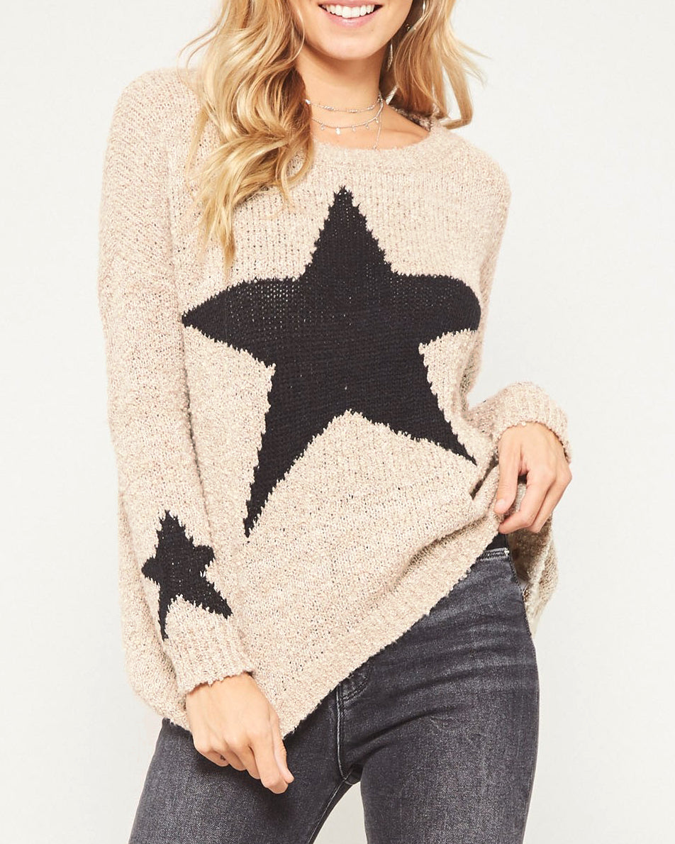 Promesa Taupe Knit Black Star Graphic Pullover Long Sleeve Sweater Savvy Chic Boutique Cleveland Ohio