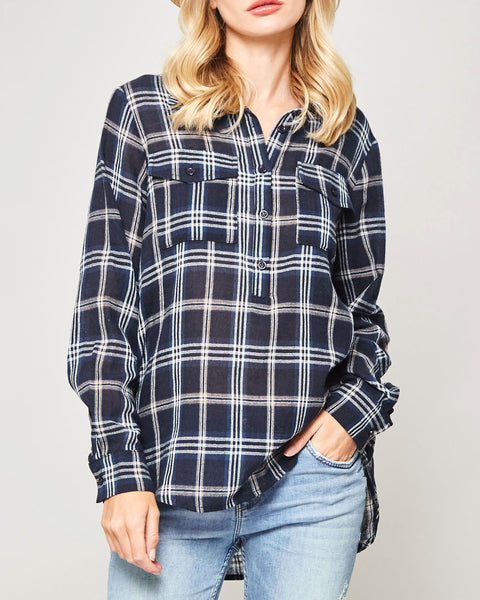 Promesa Navy Blue Plaid Check Button Down Long Sleeve Top Savvy Chic Boutique Cleveland Ohio