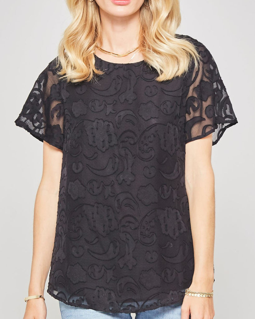 Promesa Black Floral Sheer Lace Short Sleeve Top Tee Shirt Savvy Chic Boutique Cleveland Ohio