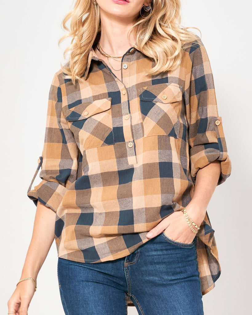 Promesa Rust Navy Plaid Flannel Button Up Cuff Rolled Sleeves Top Shirt Savvy Chic Boutique Cleveland Ohio