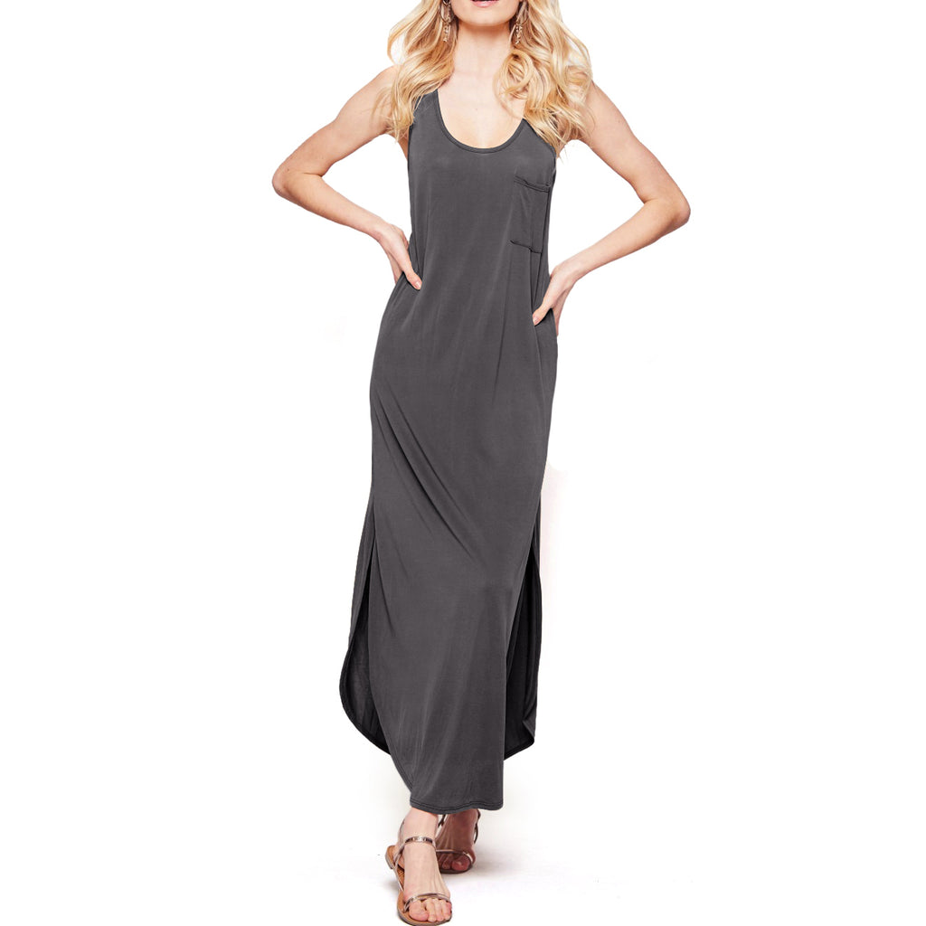 Andrée by unit Black Charcoal Modal Sleeveless Tank Basic Maxi Dress Savvy Chic Boutique Cleveland Ohio