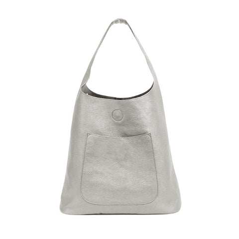 Faux Leather Silver Metallic Hobo Tote Handbag Purse
