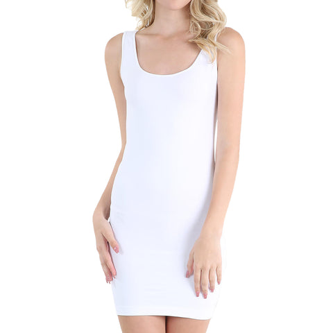 Nikibiki White Long Tank Top Tunic Dress Stretch One-Size Savvy Chic Boutique Cleveland Ohio